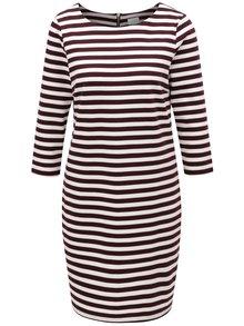 Krémovo-vínové pruhované šaty VILA Vitinny