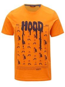 Oranžové tričko s potiskem ONLY & SONS
