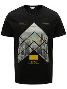 Tricou negru cu print Jack & Jones