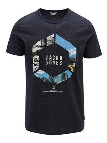 Tmavomodré melírované tričko Jack & Jones