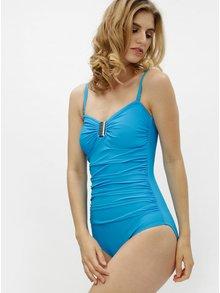 Tyrkysové jednodílné zeštíhlující plavky s ozdobnou sponou M&Co