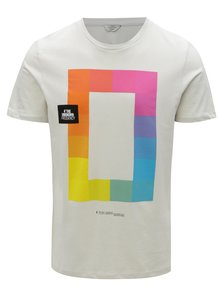 Tricou gri deschis cu print colorat Jack & Jones