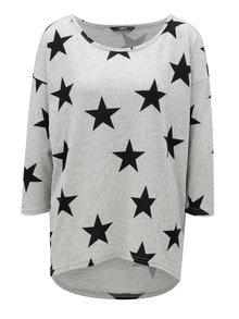 Sivé vzorované oversize tričko s 3/4 rukávom ONLY Elcos
