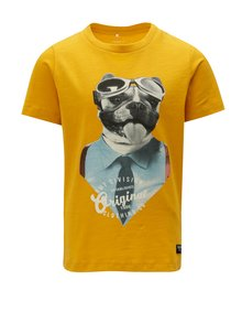 Žluté klučičí tričko s potiskem Name it Sripus