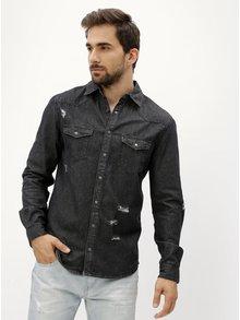 Černá džínová košile s potrhaným efektem Shine Original
