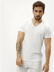Biele pánske tričko s véčkovým výstrihom Stanley & Stella