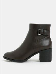 Tmavohnedé dámske členkové topánky na vysokom podpätku Geox