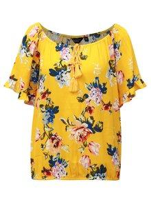 Žltá kvetovaná blúzka s volánmi na rukávoch Dorothy Perkins