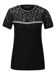 Čierne čipkované tričko s pruhovanými detailmi Dorothy Perkins