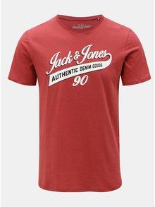 Tricou rosu cu print Jack & Jones Logo Tee