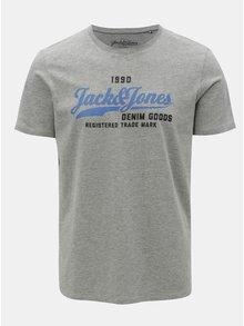 Tricou gri melanj cu print Jack & Jones Logo Tee