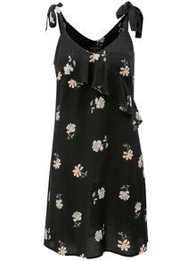Čierne kvetované šaty na ramienka s volánom Dorothy Perkins