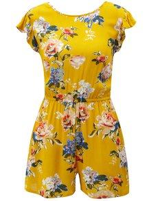Horčicový kvetovaný overal s volánmi Dorothy Perkins