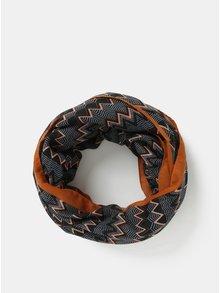 Černo-hnědý vzorovaný dutý šátek Pieces Tricana