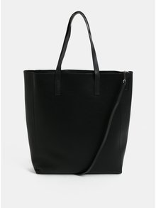 Černá velká koženková kabelka Pieces Jocelynn