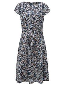 Tmavě modré květované šaty s páskem na zavazování Billie & Blossom Tall