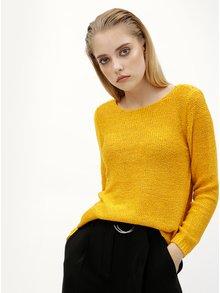 Horčicový sveter s pásikmi na chrbte ONLY Gabbi String