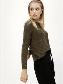 Kaki sveter s pásikmi na chrbte ONLY Gabbi String