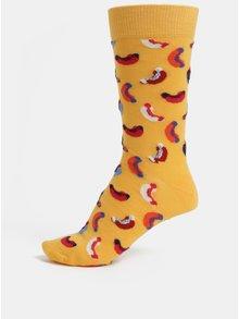 Sosete barbatesti galbene cu model Happy Socks Hotdog