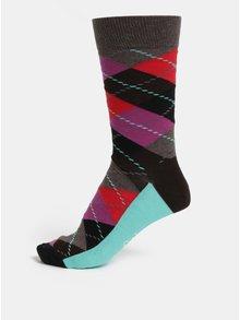 Sosete barbatesti visiniu-maro cu model Happy Socks Argyle