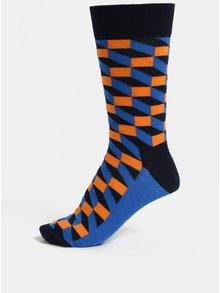 Sosete barbatesti oranj-albastru Happy Socks Filled Optic Sock
