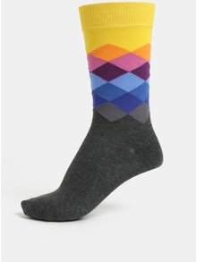 Sivé unisex vzorované ponožky Happy Socks Faded Diamond