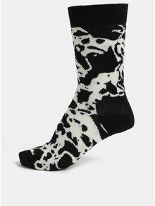 Bielo-čierne dámske vzorované ponožky Happy Socks Marble