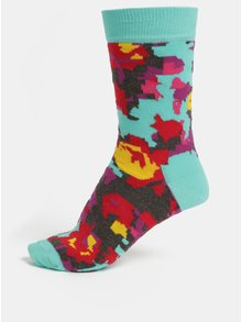 Sosete de dama albastre cu model Happy Socks Flower
