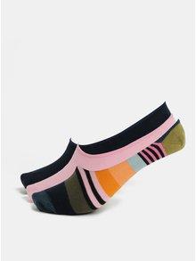 Set de 5 perechi de sosete de dama scurte albastru si roz Happy Socks 3-Pack Stripe Liners
