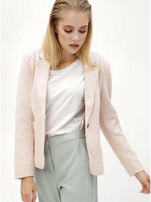 Svetloružové melírované sako s vreckami ONLY Olivia