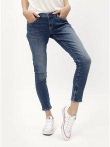 Modré dámske skrátené skinny rifle so zipsami na nohaviciach Pepe Jeans
