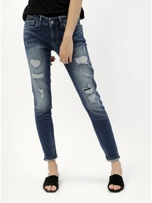 Modré dámské skinny džíny s potrhaným efektem Pepe Jeans