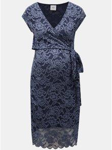 Rochie albastru inchis din dantela pentru femei insarcinate si pentru alaptat cu snur in talie Mama.licious