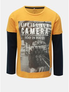 Žluto-modré klučičí tričko s dlouhým rukávem Name it