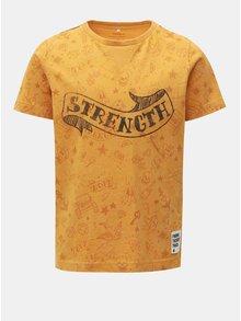 Žluté klučičí tričko s potiskem Name it