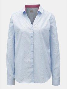 Svetlomodrá dámska kvetovaná košeľa s rozhalenkou VAVI