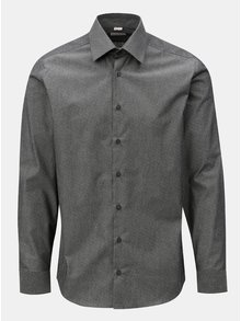 Camasa barbateasca formala gri inchis cu model discret VAVI