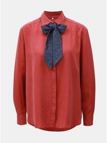 Červená dámska voľná košeľa s viazankou VAVI