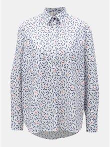 7b59b2757acc ... Modro-biela dámska voľná košeľa s motívom plodov javora VAVI