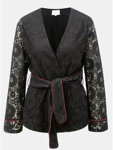 Čierne čipkované sako s opaskom VILA Luas