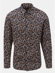 Tmavě modrá vzorovaná slim fit košile Selected Homme