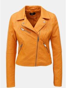 Jacheta biker oranj din piele sintetica ONLY Vigga