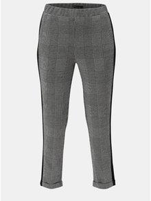 Šedé kostkované zkrácené kalhoty s vysokým pasem ONLY Pollie