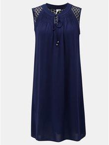 Rochie albastru inchis cu dantela pe umeri S.Oliver