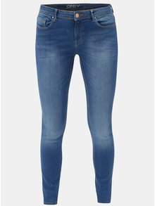 Modré skinny džíny s vyšisovaným efektem ONLY Carmen