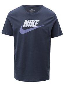 Tricou barbatesc albastru inchis cu print si maneci scurte Nike