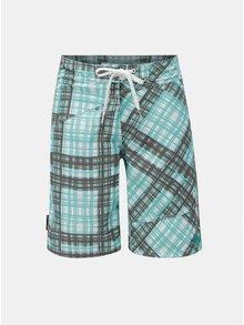 Pantaloni de baie scurti alb-verde in carouri Meatfly