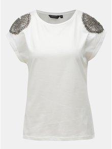 Biele tričko s korálkovou aplikáciou Dorothy Perkins