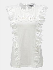 Bílé krajkované tričko s volány Dorothy Perkins Tall