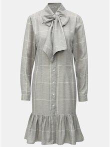 Sivé kockované košeľové ľanové šaty THAÏS & STRÖE